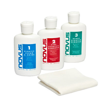 NOVUS Plastic Polish - 59ml Full Set inc 1, 2 & 3 + Polish Mate Cloth.