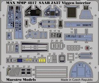 SAAB 37 Viggen PE Colour Cockpit Detail Set (TAR)