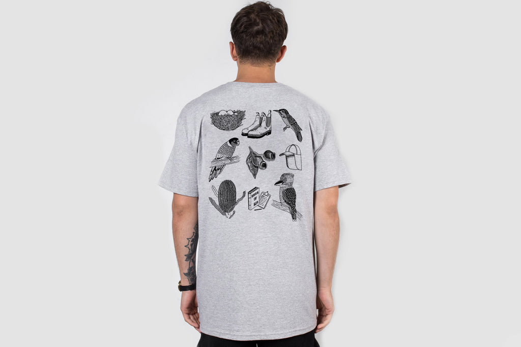 Bird Watching Back Print - Grey - Oli.