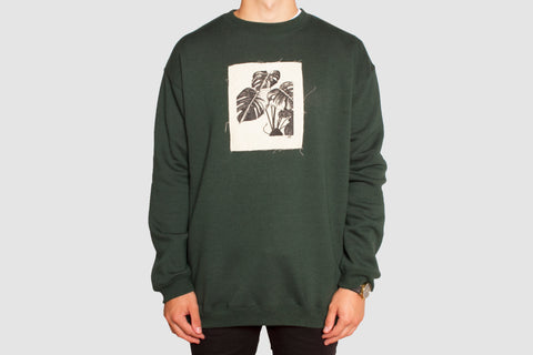 Monstera Patch Pullover - Forest