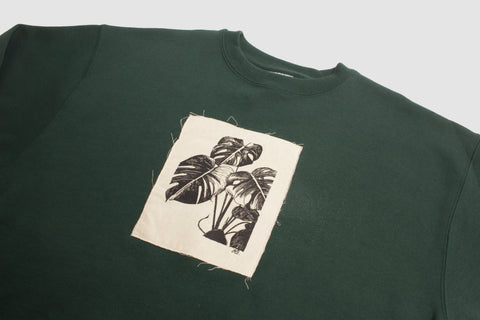 Monstera Patch Pullover - Forest - Oli.