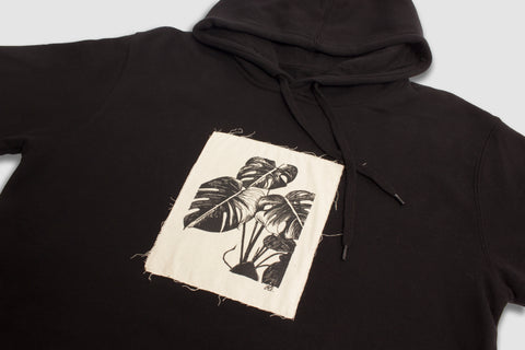 Monstera Patch Hood - Black