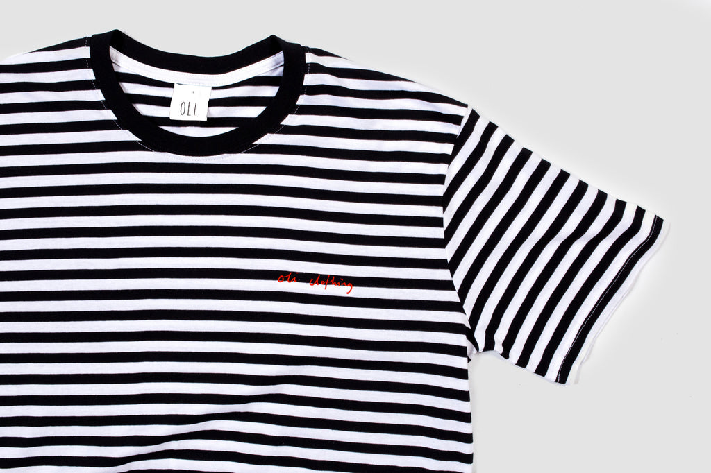 Embroidered Scribble Stripe T