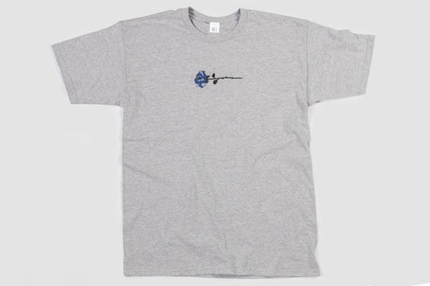 Embroidered Rose T - Grey