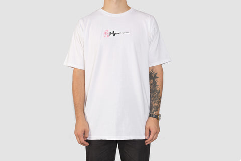 Embroidered Rose T - White