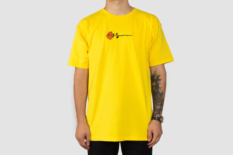 Embroidered Rose T - Yellow
