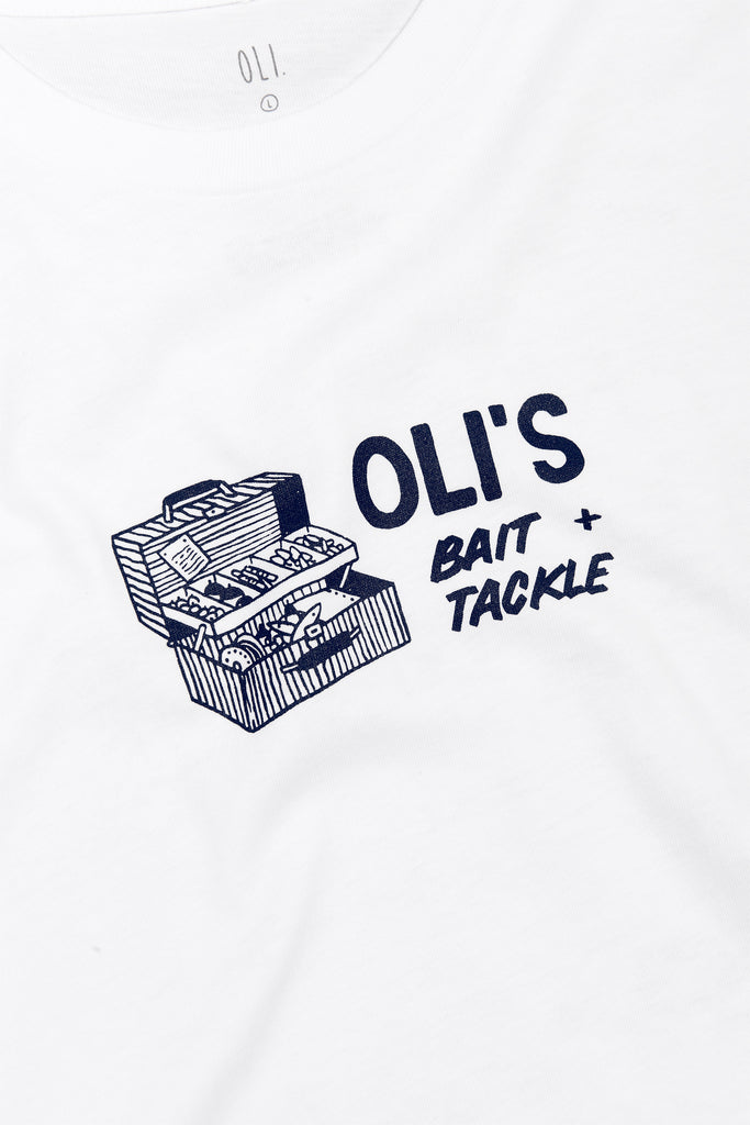 Bait & Tackle Back Print - White