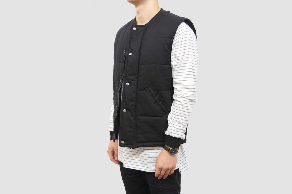 Leather Panel Quilted Vest