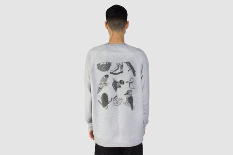 Bird Watching Pullover - Grey