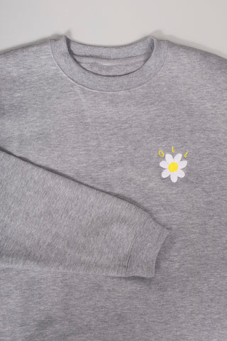 Embroidered Daisy Pullover - Grey