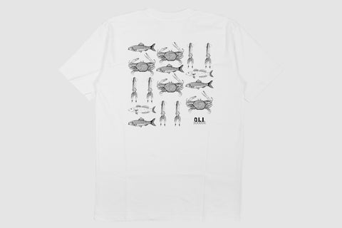 Sea Creatures Back Print - White - Oli.