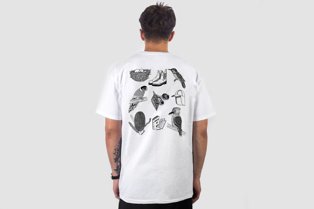 Bird Watching Back Print - White - Oli.