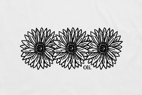 Sunflower Back Print - White - Oli.
