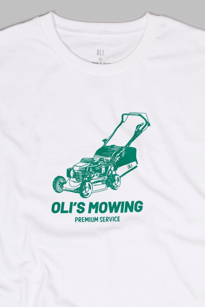Oli's Mowing T - White