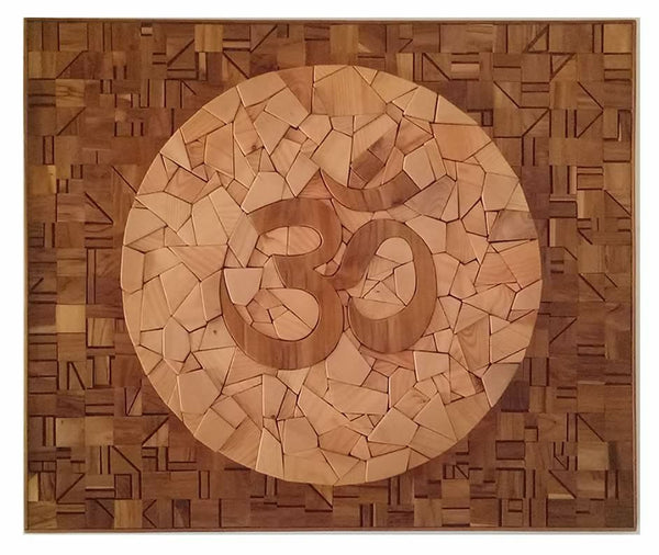 Om - The Source - by Sureel Kumar - Wood Mosaic Mural - SureelArt Gallery Gidderbaha, PB India, Vienna Austria