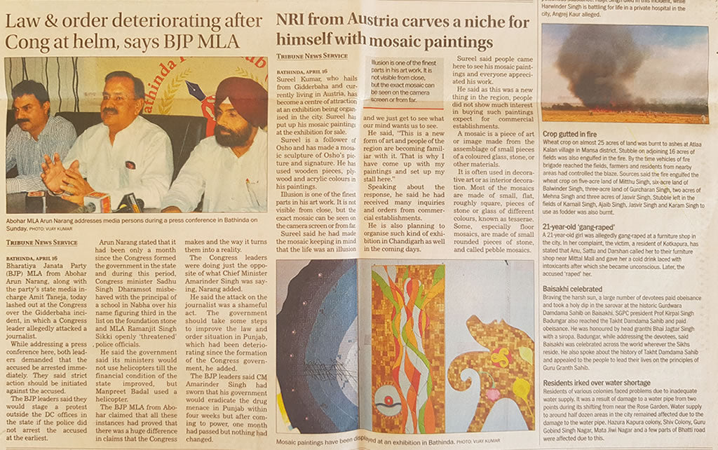 Article in English Tribune on 17 April 2017 about me and my Artwork.