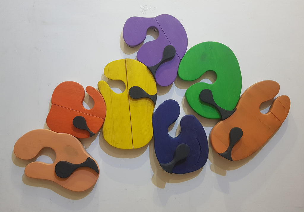 Who am I? #14 - Changing roles all the time - Painted Wood Sculpture - Sureel Art Gallery Giddarbaha PB India, Vienna Austria