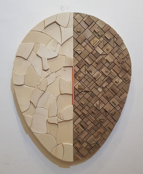 Who am I? #9 - Surrounded by emotions and logic? - Wood Mosaic - Mural - Sureel Art Gallery Giddarbaha, India, Vienna Austria