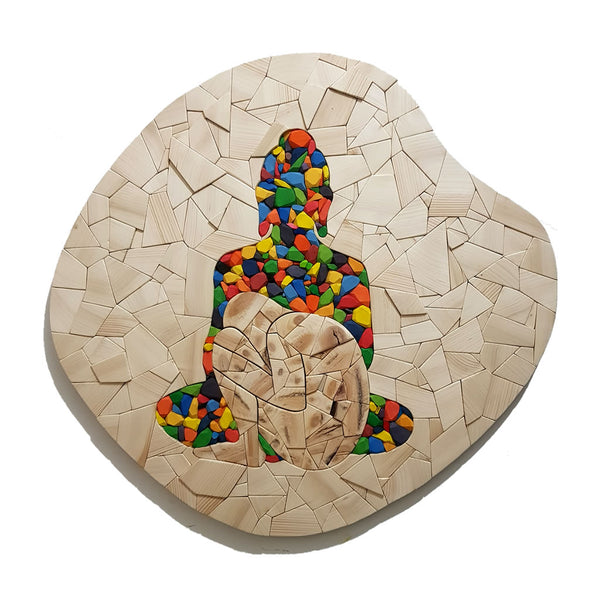 Who am I? #26 - A seed under the shelter of an awakened one?! - Wood Mosaic - Sureel Art Gallery Giddarbaha PB India, Vienna Austria