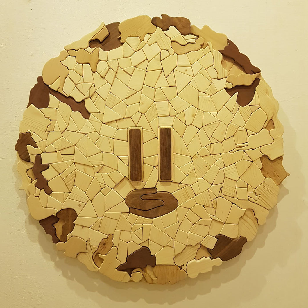 Time to Pause - Wood Mosaic/ Sculpture - SureelArt Gallery Giddarbaha, Punjab India, Vienna, Austria