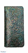 Load image into Gallery viewer, Checkbook cover  - Turquoise floral embossed