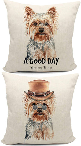 Funny Yorkshire Terrier Reversible Throw Pillow Case