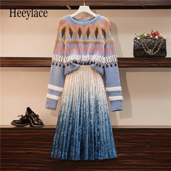 Plus Size Winter Slim Women's Sweater Two-piece Ladies Skirt Foreign Women Sweater Age-receiving Suit Ladies Striped Shirt