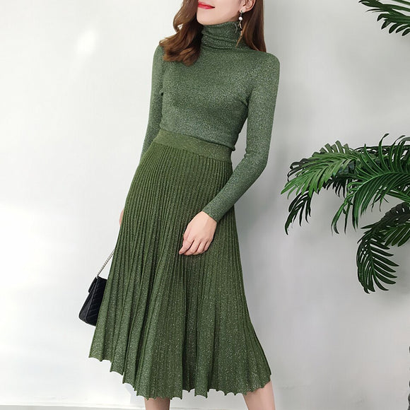 Women's suit autumn retro bright silk high collar sweater long sleeve pullover sweater + high waist long pleated skirt set