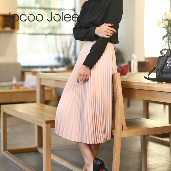 Jocoo Jolee Spring Autumn Fashion Women's High Waist Pleated Solid Color Half Length Elastic Skirt Promotions Lady Black Pink