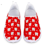 INSTANTARTS Dental Teeth/Dentist Equipment Pattern Flats Summer Women's Casual Sneakers Comfort Mesh Loafers Shoes Female Shoes