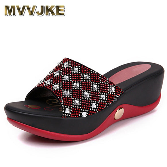MVVJKE   Real Leather Women's Shoes, Summer Sandals Girls 40 Rhinestone Casual Slippers Rihanna Slides