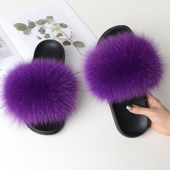 COOLSA New Women's Casual Furry Fur Flip Flops Real Fox Fur Sandals Lady Fluffy Slides Women's Plush Flat Slippers Travel Shoes