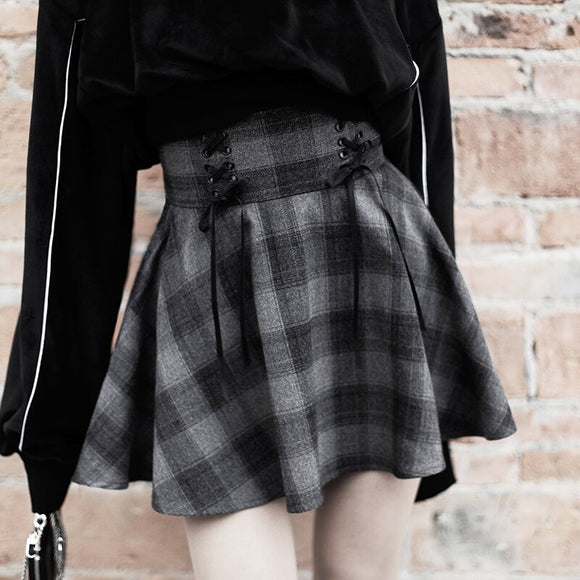 New Gothic Spring Autumn Gray Plaid Skirts Shorts Women's Pleated Skirt Short Punk Girl's Skirt Short  A-line Mini Skirt Mujers