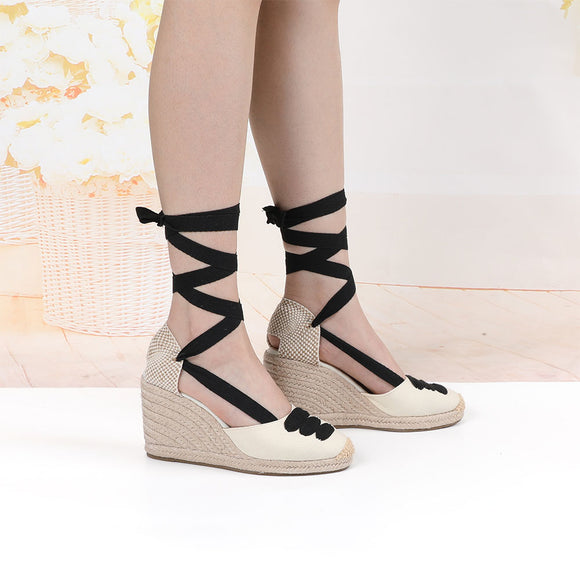 Women's wedge Espadrille Ankle Strap Sandals Comfortable Slippers Ladies Womens Casual Shoes Breathable Flax Hemp Canvas Pumps
