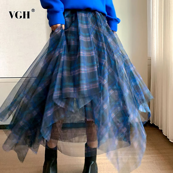 VGH Casual Plaid Patchwork Mesh Women's Skirts High Waist Hit Color Elegant A Line Skirt For Female 2020 Spring Fashion Clothing