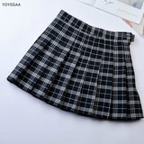High Waist A-Line Women Pleat Skirt Preppy Style Plaid Skirts Mini Cute Ladies Girls Mini Skirts Slim Waist Women's Short Skirt