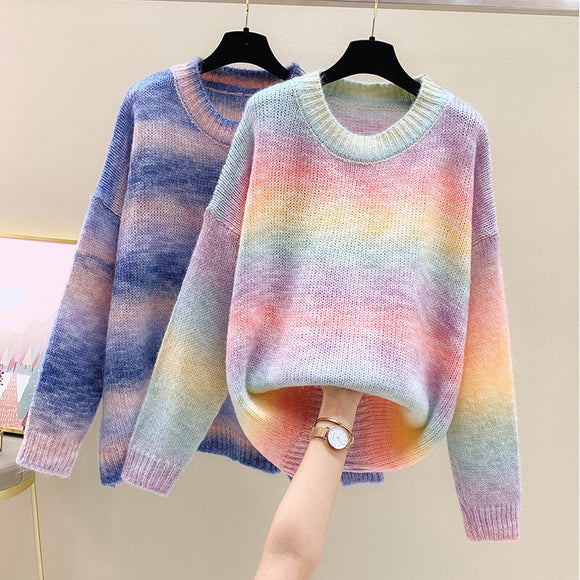 Rainbow loose lazy sweater women's pullover Korean striped outer wear cocoon coat autumn 2020 new