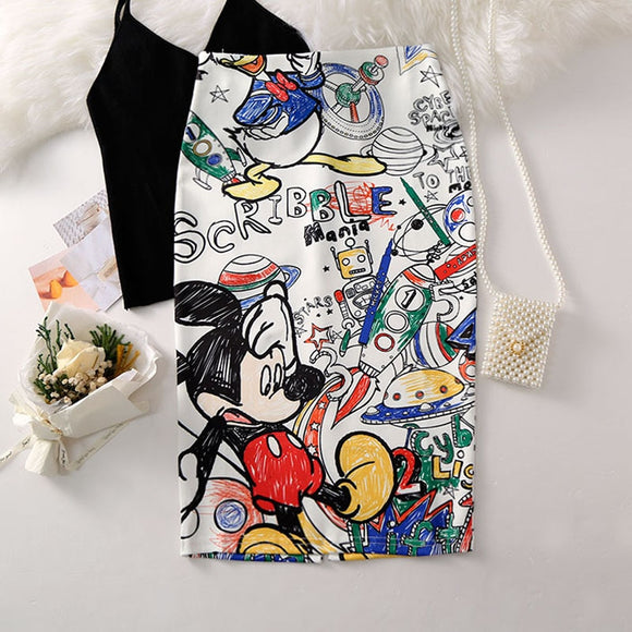Paris Girl Women's Pencil Skirt New Cartoon Mouse Print High Waist Slim Skirts Summer Large Size Japan Female