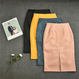 4XL 5XL Autumn Fashion Women's Mid Leather Skirt High Waist Split Elegant Hip Pencil Skirt 2020 Plus Size Bottoms Mujer