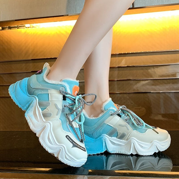 Colorful Outdoor Women Sneakers Light Lace-Up Women's casual shoes Fashion Thick Bottom Vulcanized Shoes Velvet Add Cotton Shoes