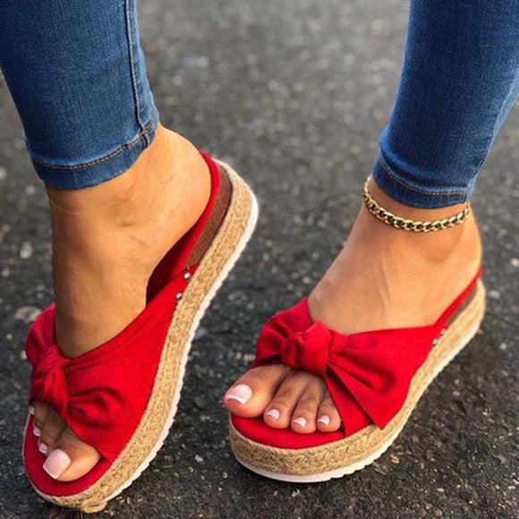 Women's Sandals Summer Shoes Wedges Thick bottom Beautiful Sandals 2020 Summer Butterfly Bow Waterproof Platform Sandals Shoes