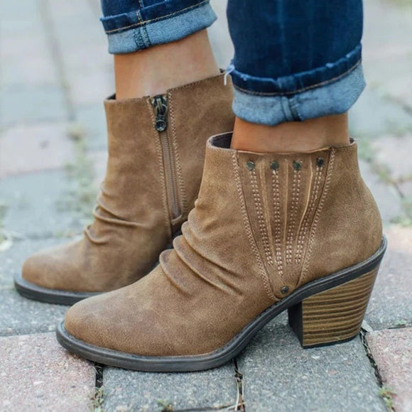 Autumn Winter Fashion Women's High Heel Ankle Boots Solid Color Thick Females Boots Casual Side Zipper Shoes Booties Woman