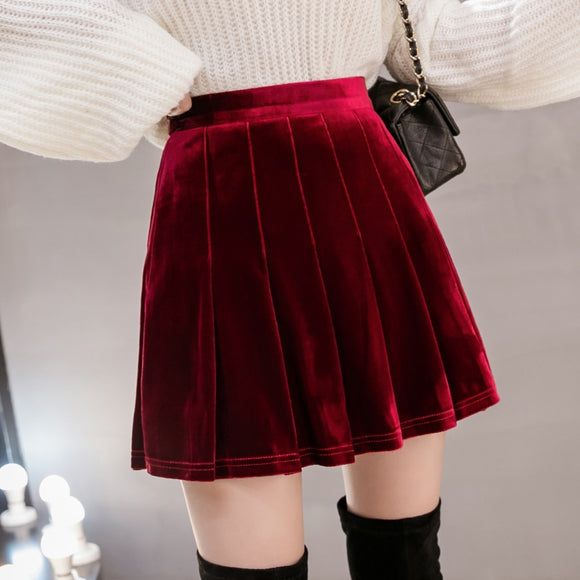 Women's Skirts 2020 New Style Autumn Winter High-Waisted Pleated Skirt A- Line Skirt Female Solid vintage Velour Skirts 815i