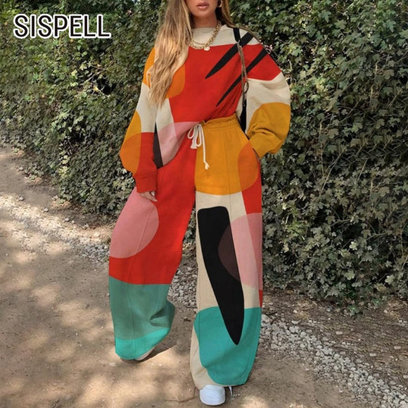 SISPELL Print Hit Color Women's Two-piece Suit O Neck Long Sleeve Loose Pullover Sweater Lace Up Bowknot Pants For Female Sets