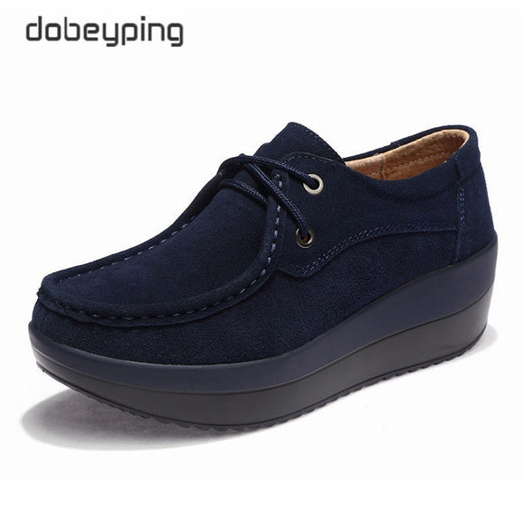 New Spring Autumn Shoes Woman Cow Suede Leather Flat Platform Women Shoes Lace-Up Women's Loafers Thick Sole Female Sneakers