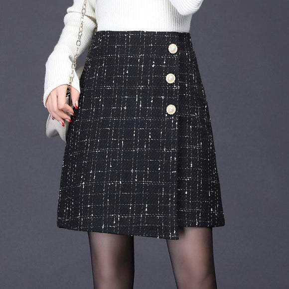 Women's autumn winter woolen skirts irregular vintage plaid skirt high waist mini skirt elegant black jupes mujer faldas