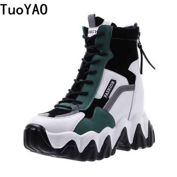 Spring Women Thick Sole Ankle Boots Autumn Luxury Platform Casual Boots Women's 8cm High Heels Wedge Boots Shoes Woman Sneakers