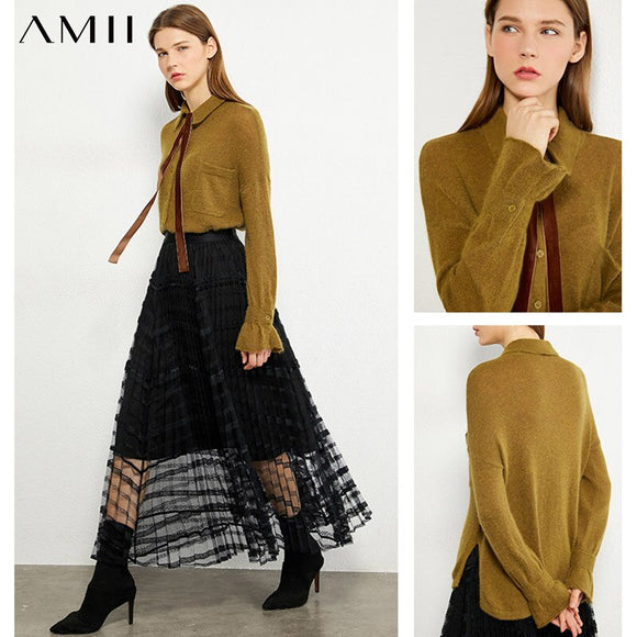 AMII Minimalism Autumn Winter Women's Sweater Causal Ruffle Sleeve Solid Lapel Women Pullover Female Sweater Tops 12020240