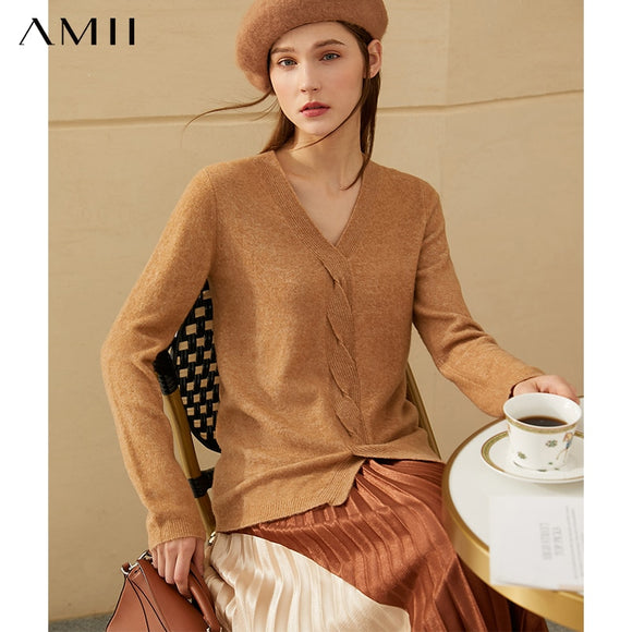 Ami Minimalism Winter Fashion Women's Sweater Causal Vneck Solid Gentle Women's Pullover Sweaters For Women Tops 12020310