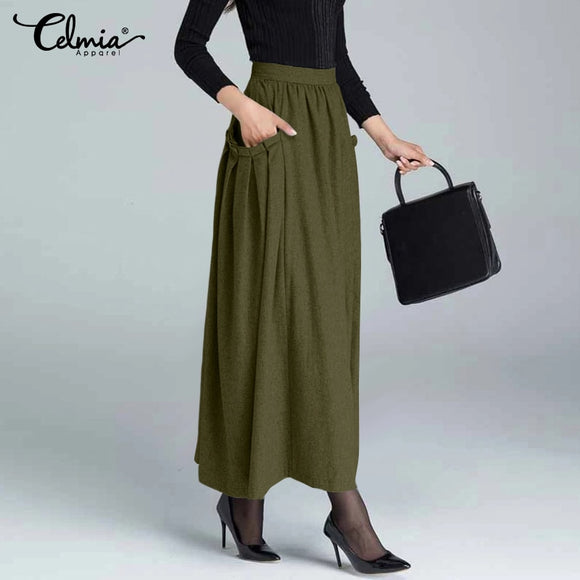 Women's Maxi Skirts 2021 Fashion High Waist Zipper Pleated Long Skirt Celmia Autumn Winter Casual Knitted Party Skirts Plus Size